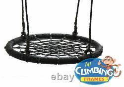 120cm Large Kids Basket Crows Nest Swing Seat BLACK Climbing Frame Tree Outdoor