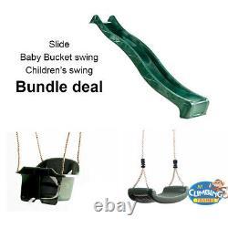 7ft Slide BUNDLE Bucket Baby Swing & Children's Swing Deal Climbing Frame Play