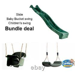 7ft Slide BUNDLE Deluxe Baby Swing & Children's Swing Deal Climbing Frame Play