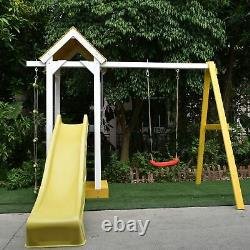 ALEKO Outdoor Backyard Wooden Kids Swing Playground Play Set with Swing, Slide
