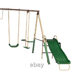 ALEKO Outdoor Sturdy Child Swing Set with 2 Swings, Trapeze, Glider, and Slide