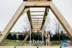 ARIZONA Monkey Bar Swing Set Jungle Gym, Wooden Climber, Cargo Net, Outdoor