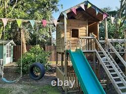 Action Wooden Climbing Frame with Swings, Slide and Bridge
