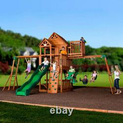 Backyard Discovery Skyfort II Swing Slide Clubhouse Rock Wall Playcentre