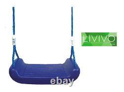 Blue Plastic Swing Seat Garden Outdoor Climbing Frame Tree Kids Children Child