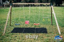 Childrens Quadruple Swing Set Heavy Duty Wooden Outdoor Garden Swing Set
