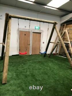 Childrens Round Post Swing Set Heavy Duty Outdoor Garden Swing Set 6 Posts