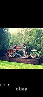 Childrens wooden climbing frame