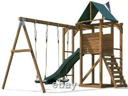 Climbing Frame Kids Swing Set Slide Tower Monkey Bars MonkeyFort Woodland