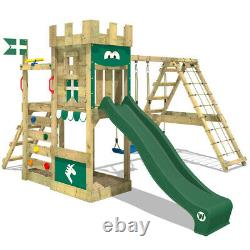 Climbing Frame Swing Set WICKEY DragonFlyer with green slide & two swing seats