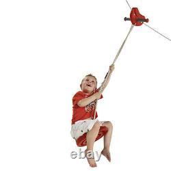 Complete ZIP WIRE 30m + Free Swing Seat Aerial ZIPLINE KIT NEW RED