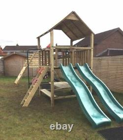 DUNLUCE Climbing Frame Complete with Rock Wall and Monkey Bars, Sub Platform