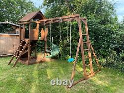 Dunster House Maxi Fort Climbing Frame with Spiral Slide 5m (L) x 3.5m (W) x 3.1