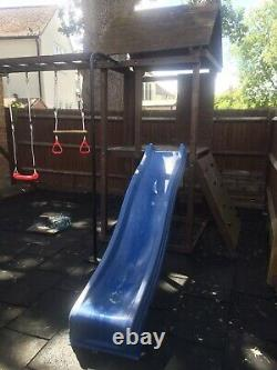 Dunster House Wooden Climbing Frame With Pole/Climbing Wall/Monkey Bars/Swings