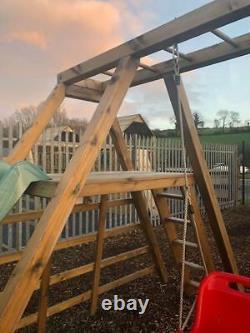 EVERGLADES Climbing Frame, Monkey Bars, Wooden Swing Set, Slide, Rock Wall Fun