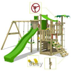 FATMOOSE BananaBeach Climbing Frame Outdoor Wood Swing Set Slide Garden
