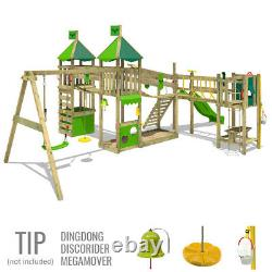FATMOOSE FunnyFortress Free XXL Wooden ClimbingFrame Treehouse SuperSwing Slide