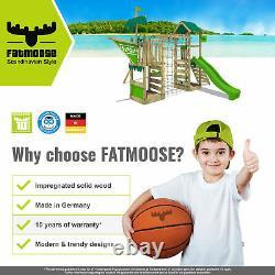 FATMOOSE JazzyJungle Jam XXL Wooden ClimbingFrame SuperSwing & light green Slide