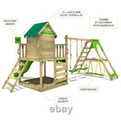 FATMOOSE JazzyJungle Jam XXL Wooden ClimbingFrame SurfSwing & green Slide