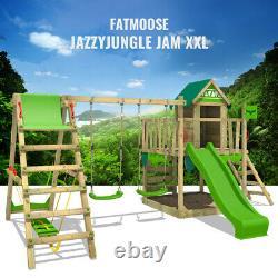 FATMOOSE JazzyJungle Jam XXL Wooden ClimbingFrame SurfSwing & light green Slide