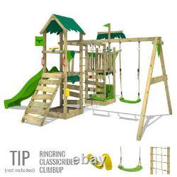 FATMOOSE WaterWorld Wave XXL Wooden Climbing Frame with Swing & green Slide