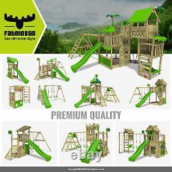 FATMOOSE WaterWorld Wave XXL Wooden Climbing Frame with Swing & lightgreen Slide