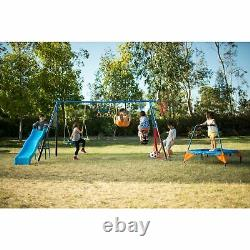 FITNESS REALITY KIDS'The Ultimate' 8 Station Sports Series Metal Swing Set with