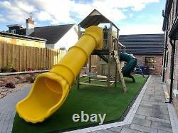 GLENSHANE Wooden Double 6ft Tower Extra Large 4.5m Enclosed Tube Slide, Swings