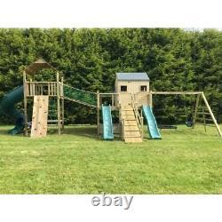 GOSFORD TOWER Climbing Frame, Playhouse, Ramp, Monkey Bars, Enclosed Tube Slide