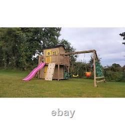 HAWTHORN DEN Jungle Gym, Playhouse, Enclosed Den, Rock Wall, Cargo Net, Swings