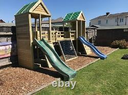 Heavy Duty Children's Climbing Frame 2 Tower Premier NO Self Assembly required