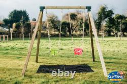 Heavy Duty Double Wooden Swing Set Climbing Frame Pressure treated 4 Inch Posts