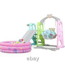 Indoor Outdoor Baby Kids Play Slide Set Climber Playset Playground Swing Toddler