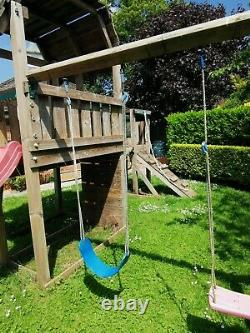 Jungle Gym Wooden Climbing Frame 2 towers, bridge, slide and swings
