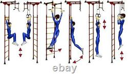 Kid's Home Gym Swedish Wall with Swing and Accessories Vertical-10