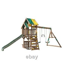 Kidkraft Arbor Crest Deluxe Swing Playset Kids Wooden Play Swing Slide Set