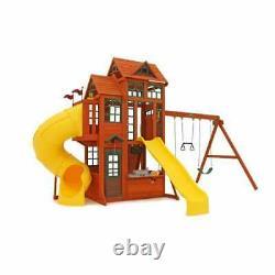 Kidkraft Canyon Ridge Wooden Playset Kids Wooden Play House Swing Slide Set