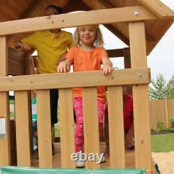 Kidkraft Windale Wooden Swing and Slide Playset Playhouse, Rock Wall, Bench