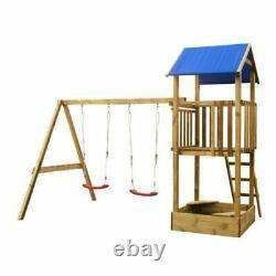 Kids Climbing Frame Tower Fort Twin Swing Sand Pit FSC Wood Garden Play Set