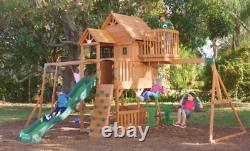 Kids Garden Playhouse Outdoor Children Slide Large Swing Set Wood TreeHouse Tent