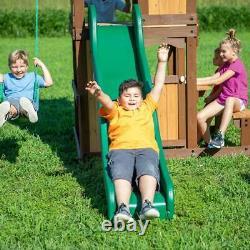 Kids Playcentre Garden Wooden Frame Children Swing Slide Set Climbing Play House