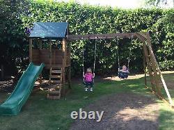 Kids Swings Slide Set Wooden Climbing Frame Monkey Bar Playhouse SquirrelFort