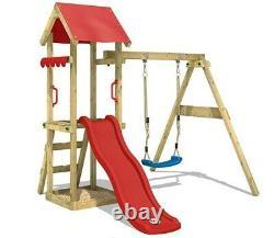 Kids Wooden Climbing Frame Swing Slide Sets Garden Play Set