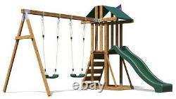 Kids Wooden Climbing Frame Swing Slide Sets Garden Play Set JuniorFort Tower