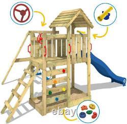 Kids Wooden Outdoor Garden Climbing Frame Swing Slide Ladder Playhouse Set Blue