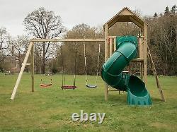 LOUISIANA Enclosed 1.5m tube slide, 5ft tower, Rock Wall, Swings, Garden fun