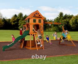 Large Garden Playcentre Wooden Children Playhouse Outdoor Kids Swing Tree House