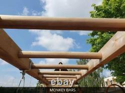 Large Wooden Playhouse Tower Climbing Frame Outdoor Garden Platform Slide Swing