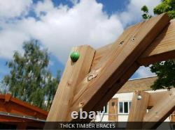 Large Wooden Playhouse Tower Climbing Frame Outdoor Garden Slide Swing Platform