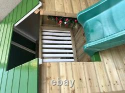 Loft Playhouse Painted Playhouse, Slide, Veranda, Two Story, Upstairs, Garden